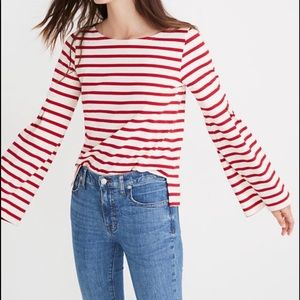 Madewell Armor Lux Flare Sleeve Striped Top